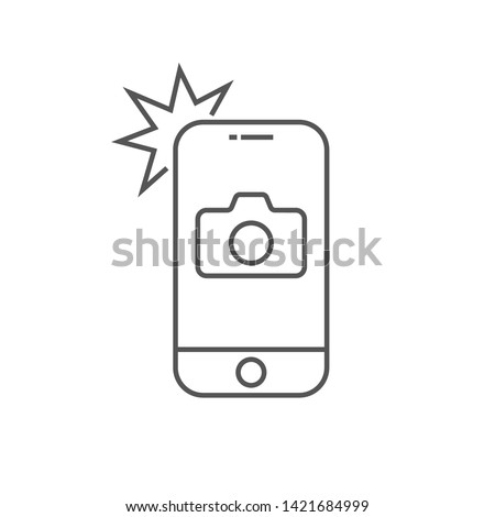 Simple icon smartphone with camera and flash. Modern phone with photo sign for web design. Vector outline element isolated. Editable Stroke. EPS 10