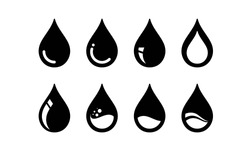 Simple iconic shapes of oil petroleum droplets that are processed for fuel and energy sources