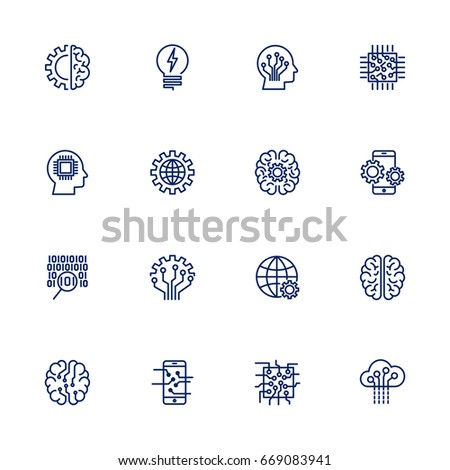 Simple icons on the subject: artificial intelligence.Set of icons for applications, programs, sites, network: brain, settings, IT, AI, UI, chip, chipping, digitization, programming. Editable stroke