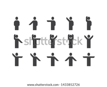 Simple Icons set of various human or person arms movement or posing in different action. such as wave, stretching, Hand up and down, pointing to left and right. Modern Pictograms Illustration design.