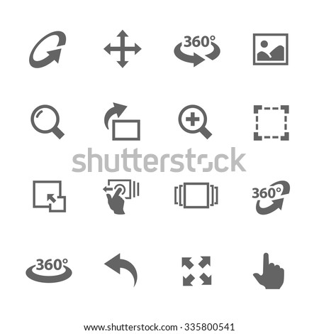Simple Icons Set with Gray Design Elements of Image Manipulations, Scrolling, Rotating, Zooming, Expanding and more. Modern vector pictogram collection.