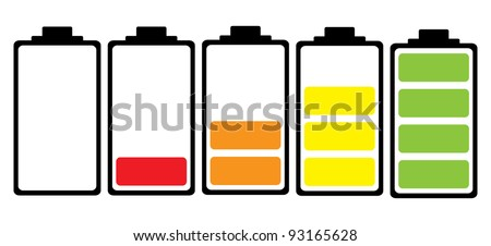 Simple illustrated battery icon with colorful charge level