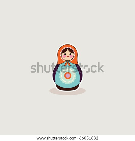 Simple illustrated card design of russian babushka doll