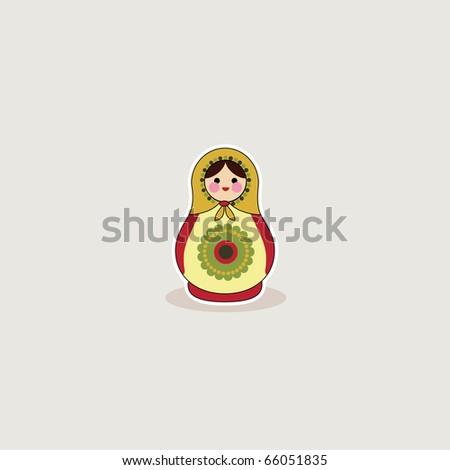Simple illustrated card design of russian babushka doll