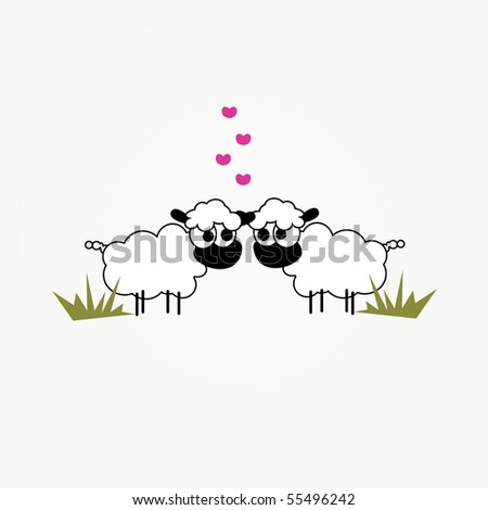 simple illustrated vector card design with two funny cartoon sheep in love