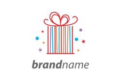 Simple illustration line shaped like gift box logo.