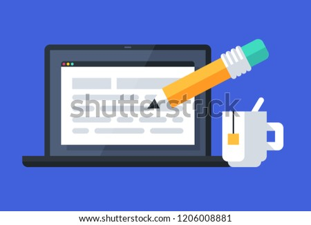 Simple illustration of a desktop computer with written text and big yellow pencil. Flat style on blue background. Vector icon.