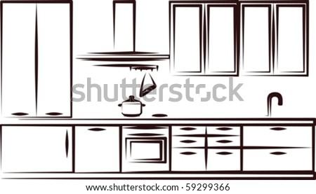 simple illustration of kitchen