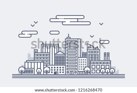 Simple illustration of modern city landscape. Office buildings and skyscrapers. Architecture background.