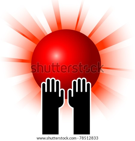 simple illustration of red sun in hands