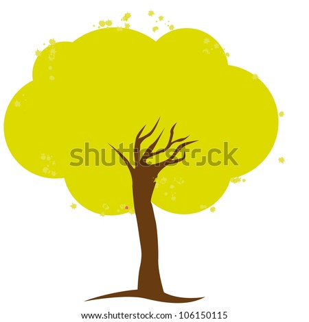 Simple illustration of tree isolated on white background