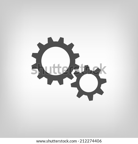 Simple illustration of two gear wheels in grey colors