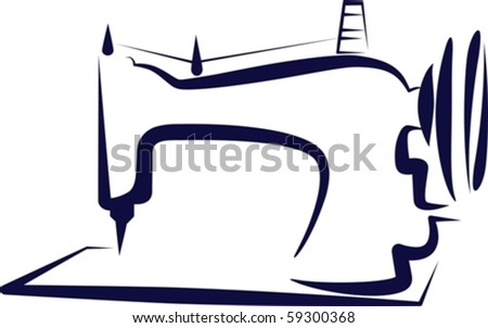 Simple illustration with a sewing-machine