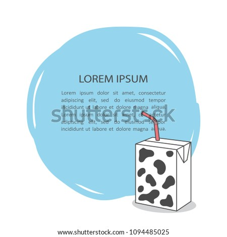Simple illustration with milk and text, poster design. Dairy products, background vector. Colorful hand drawn backdrop. Decorative wallpaper, good for printing. Place for your text here