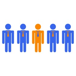 Simple image of business people and one of them different from the rest