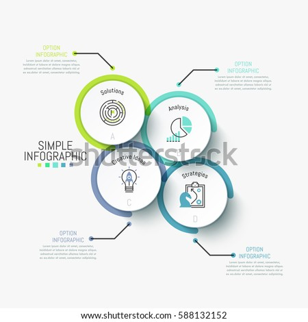Simple infographic design template. Four separated circles containing pictograms and letters inside and connected with text boxes by lines. Vector illustration for presentation, report, brochure. #588132152