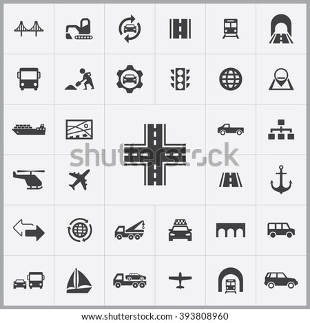 Simple infrastructure icons set. Universal infrastructure icon to use for web and mobile UI, set of basic infrastructure elements