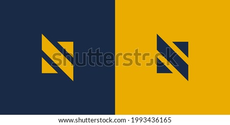 Simple Initial Letter N and S Logo. Blue and Yellow Geometric Shape isolated on Double Background. Usable for Business and Branding Logos. Flat Vector Logo Design Template Element. Stock fotó ©