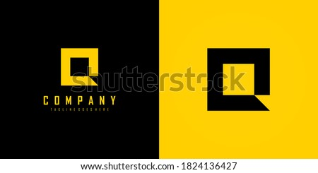 Simple Initial Letter Q Logo. Yellow and Black Geometric Square Shape isolated on Double Background. Usable for Business and Branding Logos. Flat Vector Logo Design Template element Foto stock ©