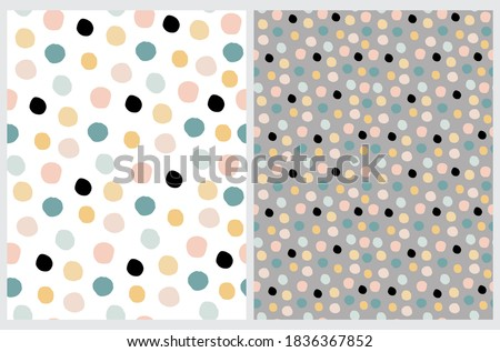 Simple Irregular Geometric Seamless Vector Patterns. Simple Hand Drawn Spots Isolated on a White and Gray Background. Funny Infantile Style Polka Dots Repeatable Design.  Abstract Dotted Print.