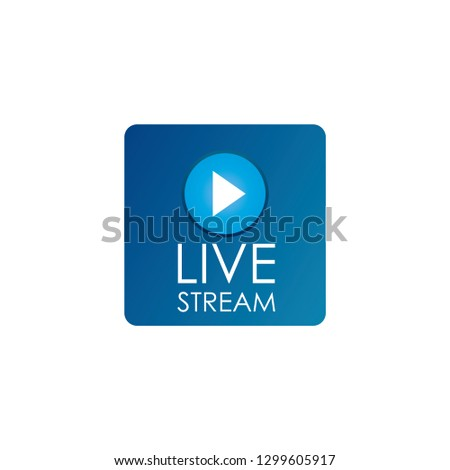 Simple isolated round live stream button and blue background frame for broadcasts or web streams - Vector Illustration