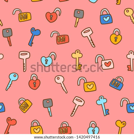 simple key doodles seamless background in pink background, good for children theme, love theme, woman theme, web background, paper design, gift wrapper.