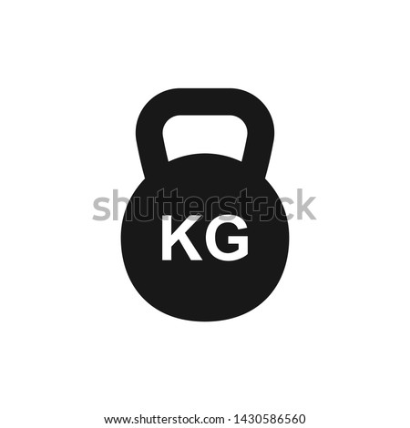 Simple KG kettlebell silhouette icon, isolated