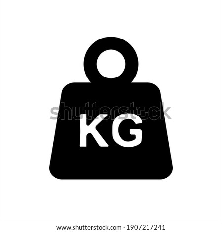 Simple KG weight silhouette icon, isolated on white isolated background. Vector Dumbbell icon.Flat design. Black silhouette.  Zdjęcia stock ©