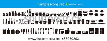 simple kitchen tools icon set, vector illustration