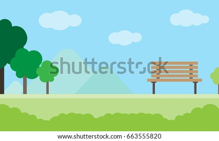Simple landscape of park with trees and bench, Background, Vector Illustration in Flat Design