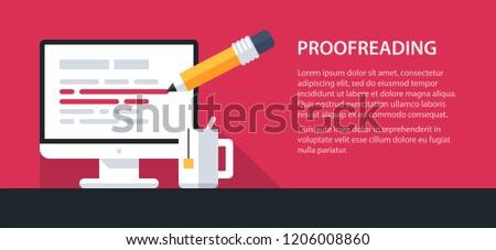 Simple layout template of a desktop computer with edited text. Flat style on red background. Vector icon.