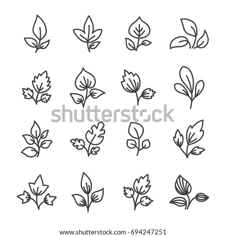 Simple leaf line icon elements.
