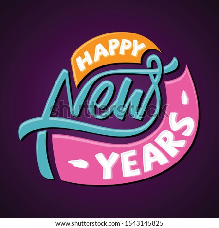 Simple letter emblem Happy New Year for greeting card or background. Vector letter Happy New Year for element design. Vector illustration EPS.8 EPS.10