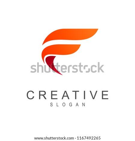 simple letter f logo Foto stock ©