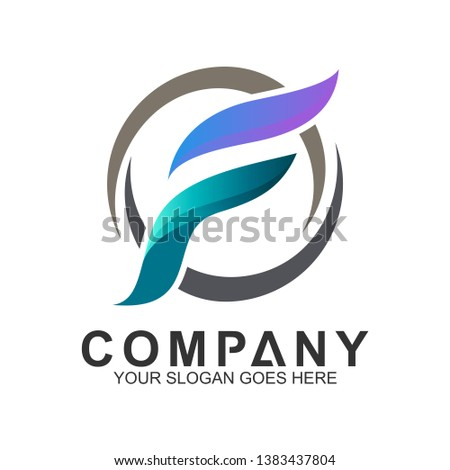 Simple Letter F Logo In Circle, Freedom Symbol, Feather Symbol