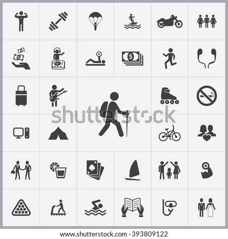 Simple lifestyle icons set. Universal lifestyle icon to use for web and mobile UI, set of basic lifestyle elements