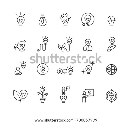 Simple Light Idea icons set,Vector