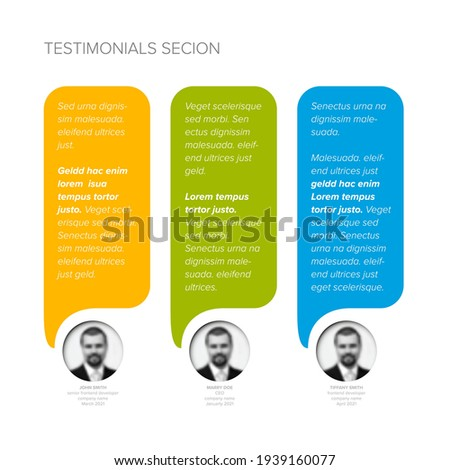 Simple light minimalistic testimonial review section layout template with three vertical testimonials, photo placeholders, quotes and colorfull speech bubbles with review text