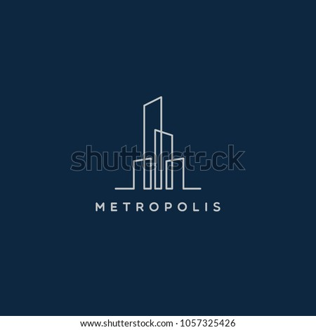Simple Line Art City Property Realty Logo Sign Symbol Icon