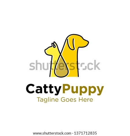 simple line art, monoline, outline cat and dog logo design vector template illustration. pet shop, pet services, pet clinic symbol icon