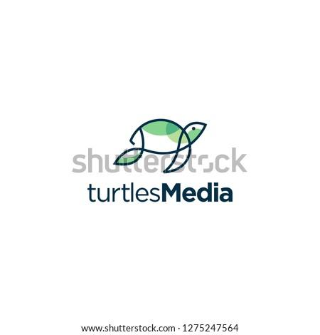 Simple Line Art Turtle Logo Template