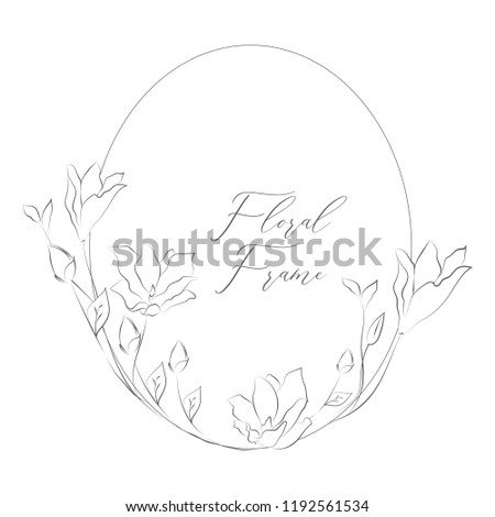 Simple Line Drawing Floristic Frame Border with Delicate Flowers, Rose, Forget me not, Branches, Plants with Round Geometric Shape. Decorative Outlined Vector Illustration. Floral Design Element