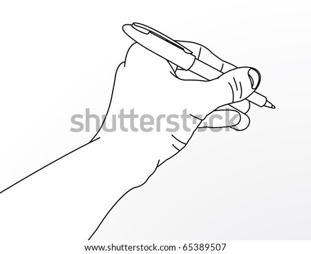 Simple line drawing of hand holding a pen.