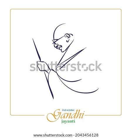 simple line drawing of mahatma gandhi