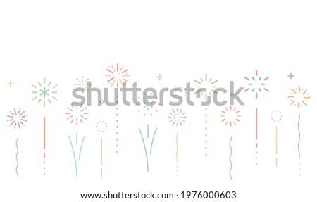 Simple line fireworks background illustration