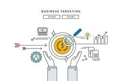 simple line flat design of business target, modern vector illustration