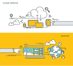 simple line flat design of cloud service & sharing, modern vector illustration