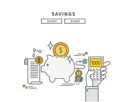 simple line flat design of savings, modern vector illustration