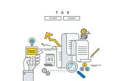 simple line flat design of tax, modern vector illustration