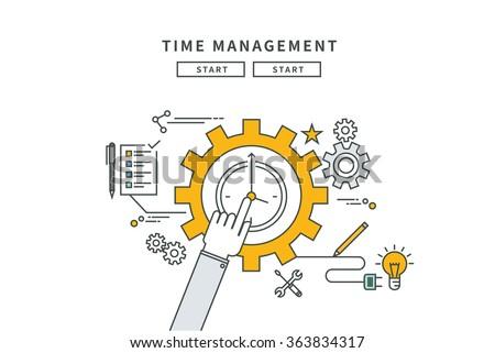 simple line flat design of time management, modern vector illustration